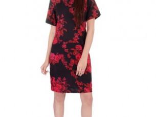 Floral Print Black Dress for parties..