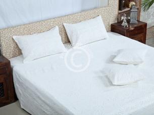 100% Cotton Cut work Plain Bedsheet..