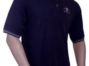 Black Cotton Men Polo Neck T Shirt..