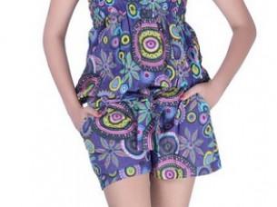 Cotton Printed Short Jumpsuit Beachwear..