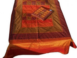 Indian Luxury Designer Ethnic Silk Bedspread..