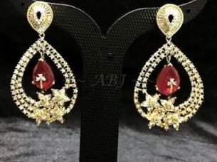 Semi Precious Earrings With Ruby Studded..