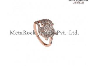 Pave Diamond Design 14k Rose Gold Diamond Leaf Shape Ring..