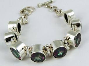 Delicate Genuine Mystic Topaz 925 Sterling Silver Bracelet..