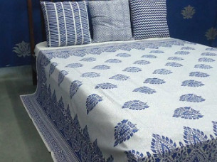 Hand Block Printed Cotton Bedspread 100%..
