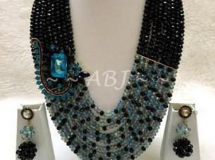 Crystal Beaded Necklace Set Jewelry..