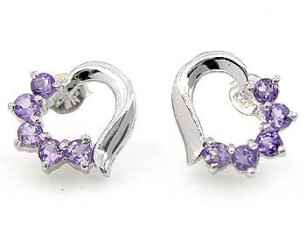 Wholesale sterling silver Genuine Amethyst Round stud earr..