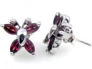 Genuine Garnet Marquise & 925 Silver Stud Earrings..