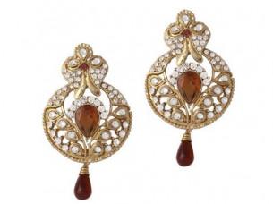 Brown Gold Plated Austrian Diamond Earrings..