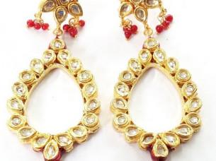 Ethnic Look Kundan Studded Fashion Earrings..