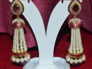 Beautiful Design Pink Work Pearl Earrings..
