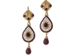 Purple Gold Plated Austrian Diamond Ethnic Earrings..