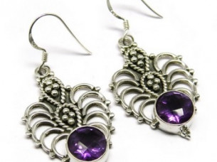 Romantic Beauty Twins Amethyst Silver Jewelry Earring..