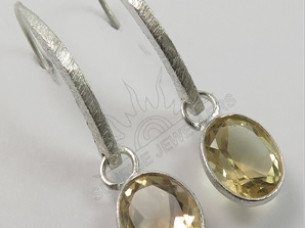 Natural CITRINE Oval Gemstones New Hot Design Earrings 925..