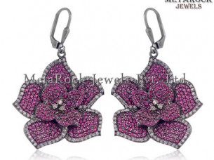 Pave Diamond Ruby Gemstone 925 Silver Floral Earrings..