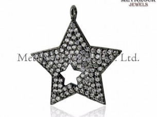 Star Shape Diamond Pendant 925 Sterling Silver Designer Je..