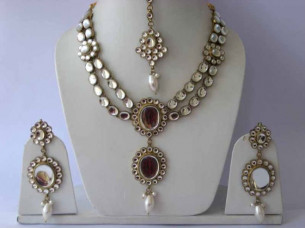 Designer Gold Plated Bollywood Party wear Kundan Zerconic ..