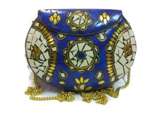 Stylish Fashionable mosaic Stone Handmade metal clutch Bag..