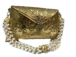 Gorgeous Handmade party look gold plated metal clutch bag ..