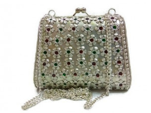 Stylish Fashionable Ethnic Handmade Women metal clutch Bag..