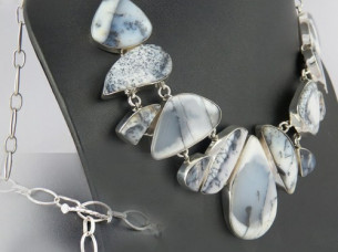 Lovely Dandritic Opal 925 Sterling Silver Necklace..