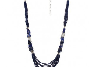 Blue Beaded Multi Chord Necklace Chain..