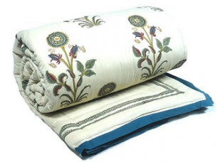 Floral Green Hand Block Printed Baby Size Quilt..