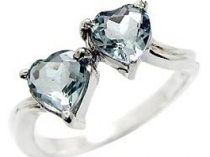 Genuine Blue Topaz Hearts 925 Sterling Silver Ring..
