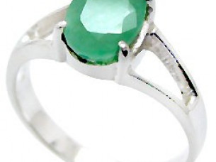 Genuine Emerald Round 925 Sterling Silver Ring..