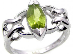 Genuine Peridot Marquise 925 Sterling Silver Ring..