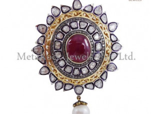 Silver Rose Cut Diamond & Ruby Gemstone Victorian Pend..