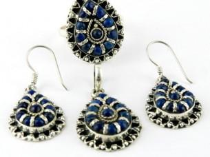 Colurfull, Lapis 925 sterling silver jewellery pendant set..