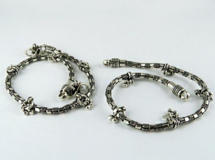 Instant Classic oxidized plain 925 sterling silver anklet..