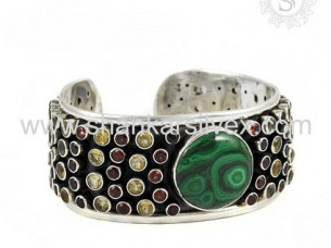 Multi Stone 925 Silver Jewelry Bangle..