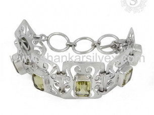Real Lemon Topaz Gemstone Silver Bracelet Jewellery For Wo..