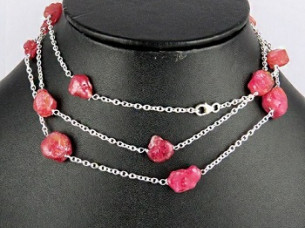 Designer Look of Ruby 925 Sterling Silver Chain Sterling S..