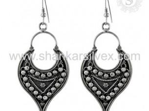 Charming Handmade Plain Silver Oxidized Women Fashion Earr..