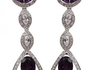 Chandelier earring Studded with Amethyst and Cubic Zircon ..