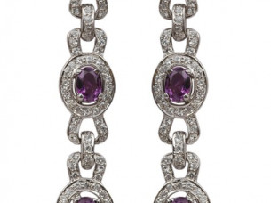 925 silver earring studded with Amethyst and Cubic Zircon ..