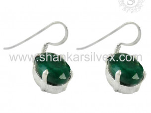 Well Looking Indian Jewelry Emerald Earring 925 Sterling S..