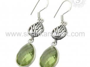 Authentic Green Amethyst Gemstone Earring Silver Jewelry W..