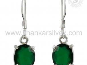 Women Gemstone Green Onyx Earring 925 Sterling Silver Jewe..