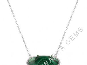 Malachite Green Stone with White CZ Pendant Necklace 925 S..