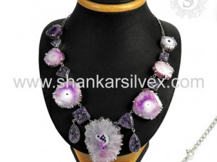Trendy Design 925 Sterling Silver Multi Stone Necklace..