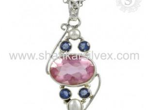 Multi Stone Women Special Pendant Silver Jewellery..
