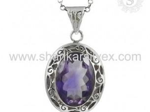 Amethyst Gemstone Pendant Exporter 925 Silver Jewelry..