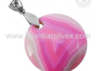 Impressive Design Of Striped Onyx Pendant Sterling 925 Sil..
