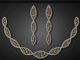 Diamonds Necklace Set in 18K Gold..