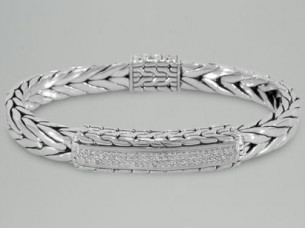 Beautiful Real Diamond Mens Bracelet in 14K White Gold..