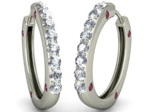 Natural Real Diamond Hoop Earring in 14Kt White Gold..